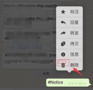 WhatsAPP如何删除信息