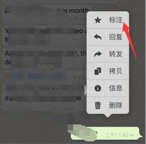 WhatsAPP标注信息即可收藏信息