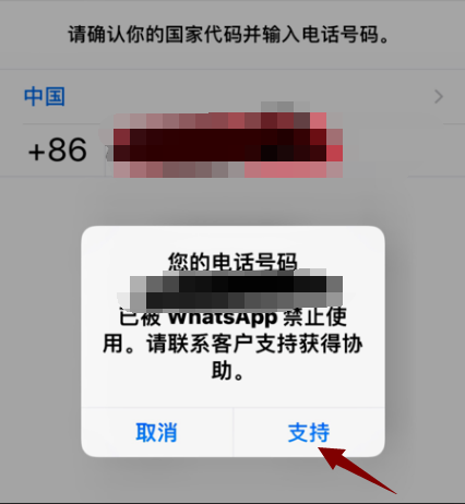 WhatsAPP电话被禁用点击支持按钮