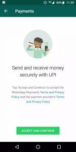 WhatsAPP支付UPI的使用